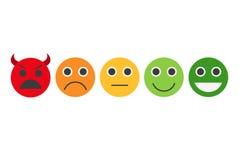 Terugkoppeling in vorm van emoties, smileys, emoji Stock Fotografie