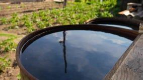 Terugwinning van regenwater in een tuin stock videobeelden