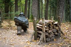 Tervete Nature Park with wooden sculptures royalty free stock images