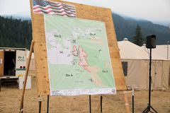 Terwilliger Fire Camp in Willamette National Forest. Terwilliger Fire Camp, OR, USA - August 30, 2018: Map detail of the Terwilliger Fire, currently burning more royalty free stock photo