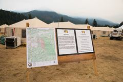 Terwilliger Fire Camp in Willamette National Forest. Terwilliger Fire Camp, OR, USA - August 30, 2018: Map detail of the Terwilliger Fire, currently burning more stock photography