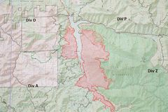 Terwilliger Fire Camp in Willamette National Forest. Terwilliger Fire Camp, OR, USA - August 30, 2018: Map detail of the Terwilliger Fire, currently burning more royalty free stock image