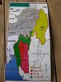 Terytorialna mapa Zoland Konwergencja kachin podbródek Kuki Mizo ludzie fotografia royalty free