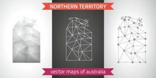 Terytorium Północnej kolekcja wektorowego projekta map, szarej, czarnej i srebnej kropka konturu mozaiki 3d mapa nowożytna, Zdjęcia Stock