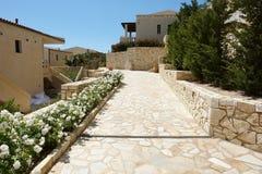 Terytorium wysokości klasy hotel na Ionian wybrzeżu Grecja Fotografia Royalty Free