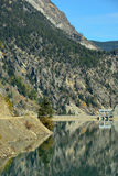 Terzaghi水坝和Carpenter湖水库在不列颠哥伦比亚省, C 免版税库存照片