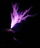 Tesa Coil lightning. Looking at lighting from a Tesla Coil. Creating art from electricity Royalty Free Stock Image