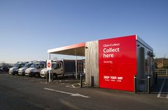 Tesco Click and Collect. Swansea, UK: December 28, 2016: Tesco Click and Collect, order shopping online and collect from a local store for free. Delivery vans stock image