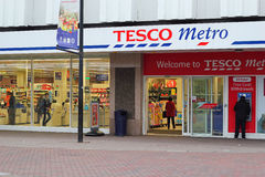 Tesco Metro store. A Tesco metro store in Bedford, England, UK.Tesco is a British multinational grocery and general merchandise retailer headquartered in the UK stock images