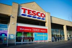 Tesco-Opslag in Skipton, het UK stock foto's