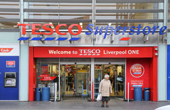 Tesco Superstore in Liverpool. England Royalty Free Stock Photography