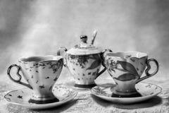 Teservis i svartvitt royaltyfria foton