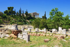 Teseyon and ancient ruins in Athens Stock Images