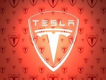 Tesla-Autoemblem stock abbildung