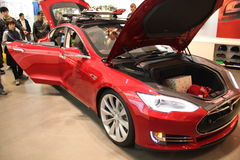 TESLA Battery Electric Vehicle. Tesla electric vehicle on display Royalty Free Stock Images