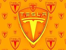 Tesla bilemblem Arkivbilder