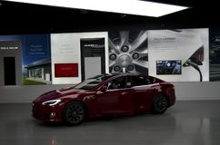 Tesla Car Show Room in Bellevue Mall. A brand new Tesla electronic car was shown in Bellevue Mall, Seattle, Washington State Stock Photo