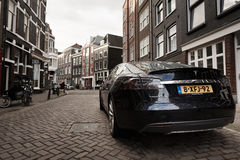 Tesla car on the street of Amsterdam stock photography