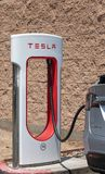 Tesla Charging station close-up with Tesla attached royalty free stock photos