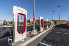 Tesla Charging Stations near Interstate 15 and Las Vegas Nevada Stock Photo