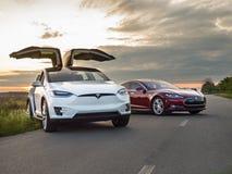 Tesla elbil Fotografering för Bildbyråer