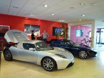 Tesla electric car. Tesla eletric sport car exihibited in salon Stock Photos