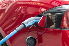 Tesla electric car charging Royalty Free Stock Photography