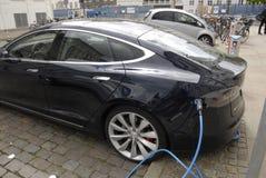 TESLA ELECTRIC CAR Stock Photo
