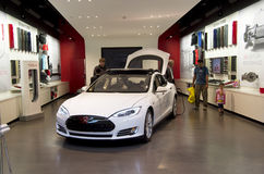 Tesla electric car showroom Royalty Free Stock Photos
