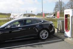 TESLA ELECTRIC VEHICLES. Rodekro /Jylland _Denmark _22..April 2017_Tesla electric been rechared at Tesla electric recharge booth in Rodekro Jylland Denmark Stock Photography