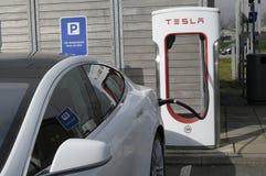 TESLA ELECTRIC VEHICLES. Rodekro /Jylland _Denmark _22..April 2017_Tesla electric been rechared at Tesla electric recharge booth in Rodekro Jylland Denmark Stock Photo