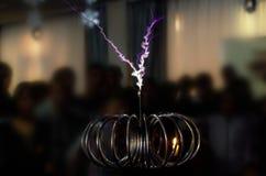 Tesla invention. Electric Tesla invention. coil current lightning strike Stock Photo