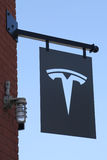Tesla Logo sign at the new Tesla dealership Stock Images