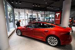 Tesla maszynowy sklep w Frankfurt fotografia stock