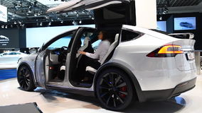 Tesla Model X all electric, luxury, crossover SUV car. Interior on display during the 2017 European Motor Show Brussels stock footage