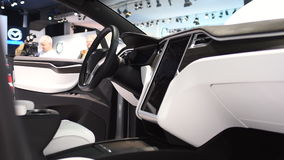 Tesla Model X all electric, luxury, crossover SUV car interior. On display during the 2017 European Motor Show Brussels stock footage