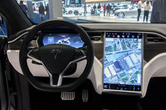 Tesla Model X dashboard. BRUSSELS - JAN 19, 2017: Interior dashboard with navigation of the Tesla Model X on display at the Motor Show Brussels Stock Photography