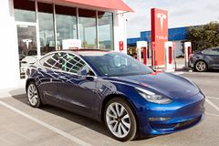 Tesla model 3 new electric car Royalty Free Stock Image