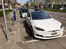 Tesla Model S being charged Stock Photography