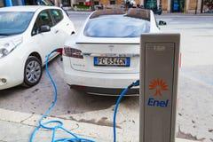 Tesla model S car charging at EV recharging station Royalty Free Stock Image