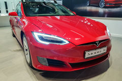 Tesla Model S car. Malmo, Sweden - July 26, 2017: Presentation of the new Tesla Model S in Emporia Shopping Center. The Tesla Model S is a electric luxury Royalty Free Stock Images