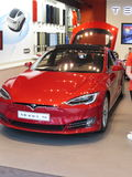 Tesla Model S. Car, red Royalty Free Stock Photography