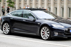 Tesla Model S driving in Denmark Copenhagen. Brand new Tesla model S the best performance having automobile in electric vehicles industry. pushing the boundaries Royalty Free Stock Image