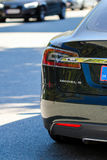 Tesla Model S driving in Denmark Copenhagen royalty free stock photography