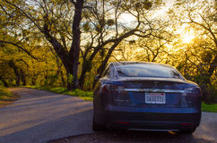Tesla Model S Electric Car. Tesla Model S at Fremont State Park, California on the road Royalty Free Stock Images