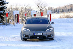 Tesla Model S Electric Car in Winter Stock Image