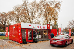 Tesla Model S electric car zero emissions Royalty Free Stock Photos