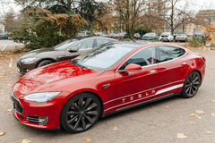 Tesla Model S electric car zero emissions Royalty Free Stock Photo