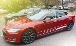 Tesla Model S electric car zero emissions Stock Images
