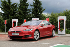 Tesla Model S Electric Vehicle with New Look Stock Photos